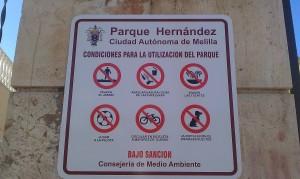 Prohibición nueva de bicicleta en Parque Hernández