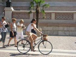 bicicleta y caminar