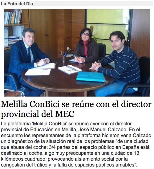 Melilla ConBici se reune con el director provincial del MEC