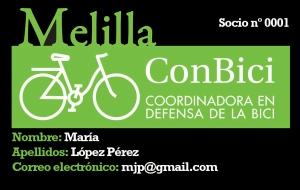 Carné socio Melilla ConBici