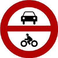 Prohibido vehículos a motor
