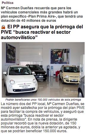 El PP asegura que la prórroga del PIVE %22buscar reactivar el sector automovilístico%22