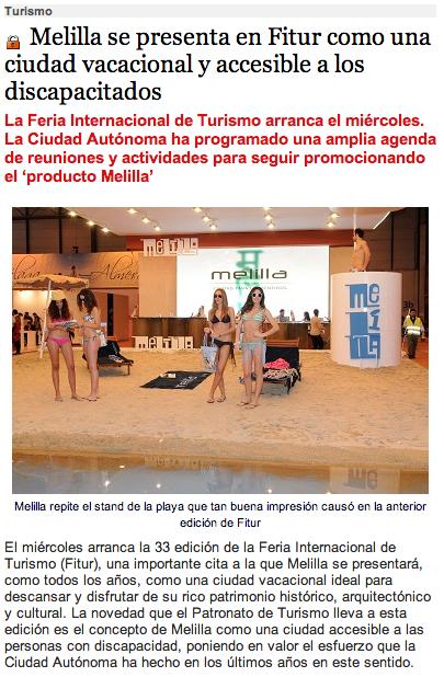 Melilla se presenta en Fitur como una ciudad vacacional y accesible a los discapacitados