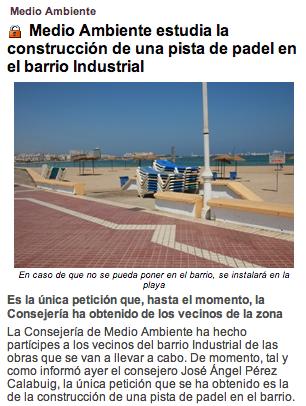 Medio Ambiente estudia la construcción de una pista de pádel en el barrio Industrial