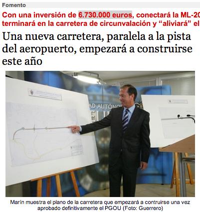 Marin: nueva carretera, paralela a la pista del aeropuerto