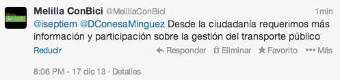Tweets Melilla ConBici