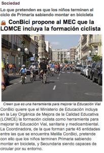 ConBici propone al MEC que la LOMCE incluya la formación ciclista