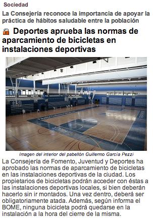 Deportes aprueba las normas de aparcamiento de bicicletas en instalaciones deportivas