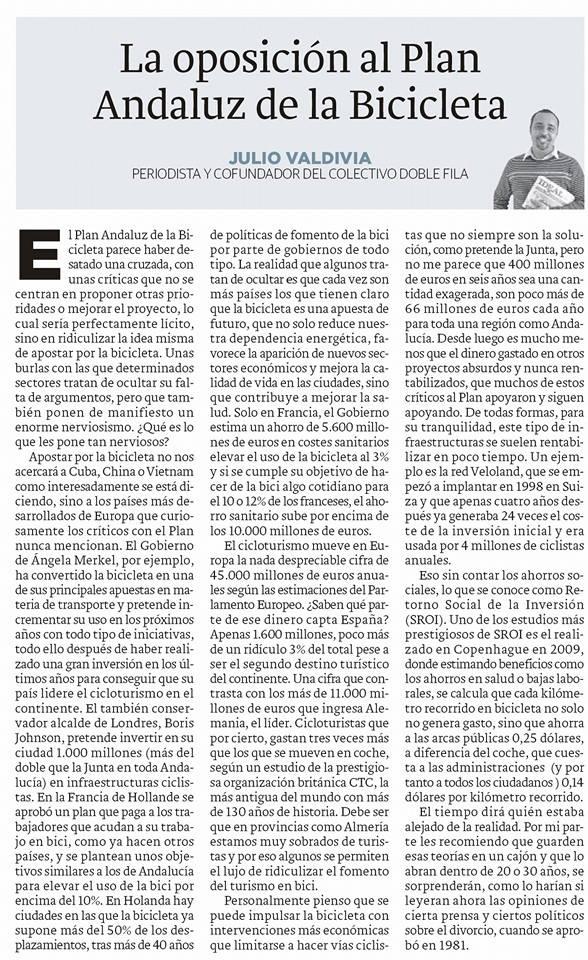 La oposición al Plan Andaluz de la Bicicleta