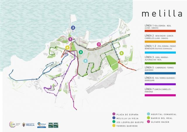 Mapa general de líneas de transporte público