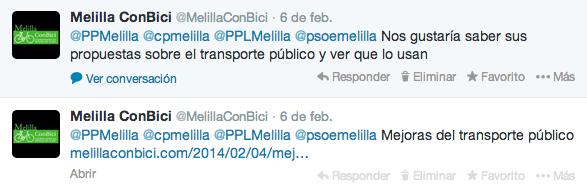 Mejoras del transporte público a partidos políticos de Melilla