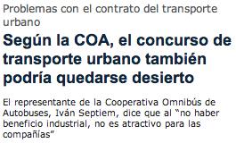 Según la COA, el concurso de transporte urbano también podría quedarse desierto