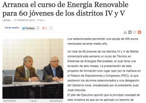 Curso Energía Renovable para jóvenes de distritos IV y V
