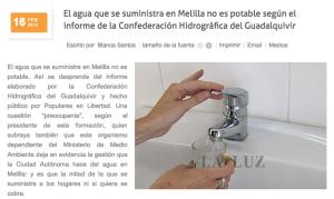 El agua que se suministra en Melilla no es potable según CHG