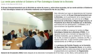 Luz verde para solicitar al Gobierno el Plan Estratégico Estatal de la Bicicleta (PEEB)