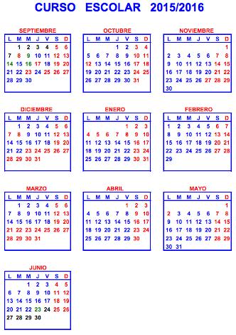 Calendario escolar 2015:2016