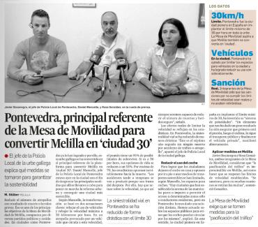 Prensa 2. Pontevedra, principal referente para convertir Melilla en ciudad 30