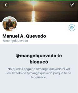 Bloqueo de Quevedo en Twitter
